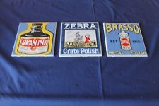 More details for 3 vintage pilkington unused ceramic advertising tiles brasso, zebra & swan ink