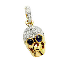 14K YELLOW GOLD PAVE NATURAL DIAMOND & SAPPHIRE GOTHIC SKULL PENDANT NECKLACE