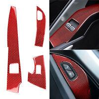 3X Rot Kohlefaser Fensterschalter Verkleidung Aufkleber für Corvette C7 2014-19