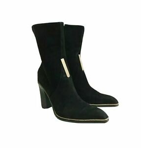 CESARE PACIOTTI VTG Women's Black Suede Boots With High Square Heels UE 38 UK 5