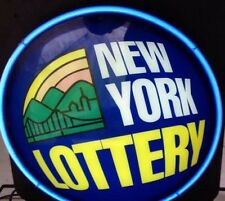 VTG NEW YORK NY LOTTERY light NEON SIGN Lamp MAN CAVE Blue Flashing Lotto Zeon
