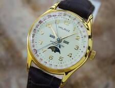 Valruz Swiss Made Triple Calendar Moonphase Men's Rare 1950s Dress Watch G32