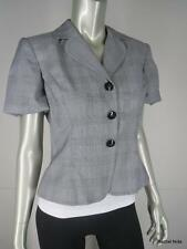 St John Cotton Jacket Sz 4 S Short Sleeve Black White Gray Plaid Cropped Blazer