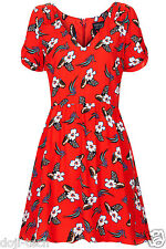 BNWT Topshop Red Floral Flower Print Vtg Skater Tea Party Day Dress 6 34 US2 XS