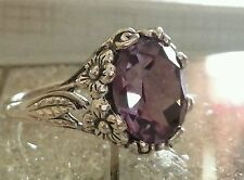 Alexandrite 6ct FINE Rare Big COLOR CHANGE flower set Silver .925 RING sz 9