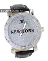 mens diamond New York silver tone clubbing watch dial leather man