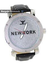 mens diamond New York silver tone clubbing watch dial leather man