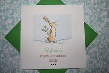 Hecho a mano personalizado de adivinar cuánto te amo primer 1st tarjeta de Navidad