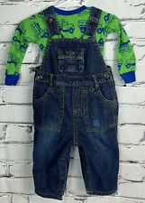 The Childrens Place Denim Jean Overalls Snap Legs Size 12M + Green Top Truck Lot