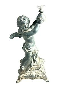 Bronze Spelter Cherub Putti Figurine Statue Lamp Base