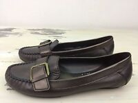 COLE HAAN - Womens Bronze Leather Buckle Slip-on Flat Moccasin Boat Shoes, 7.5 B