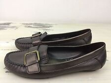 853a8cfc616 COLE HAAN - Womens Bronze Leather Buckle Slip-on Flat Moccasin Boat Shoes