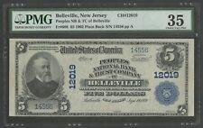 "FR608 CH #12019 $5 1902 PLAIN BACK ""BELLEVILLE, NJ"" PMG 35 CHOICE VF HW4110"