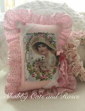 Victorian Lady~French Pink Roses~Pillow Hanger~Vintage Lace Hanky~Buttons~Fabric