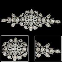 New Diamond Rhinestone Silver Motif Sew On Crystal  Applique Embellishment Patch