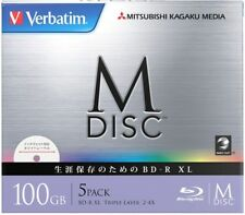 1000 Years Verbatim Bluray M-Disc BD-R XL 100GB 4x Speed Inkjet Printable Pack 5