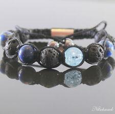 Lava Rock Blue  Edelstein Perlen Shamballa Armband Lapis Impression Beads Unisex