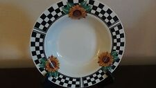 Tabletops Unlimited  Sunny Rimmed Soup Bowl Sunflowers, Black Checked Rim
