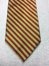 HUNTINGTON MENS TIE BURGUNDY AND GOLD STRIPED 3.75 X 57