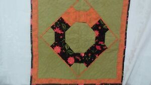 """Beautiful Small Multi-Color Floral Quilt Double Sided  22"""" X 22"""""""