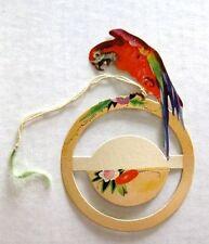 Fun Vintage Bridge Tally w/ Red Macaw Parrot on Die Cut Ring