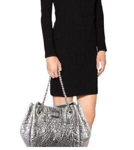 Chanel Silver Large Bag Handbag Shopping Tote Graphic Edge Logo Y2K