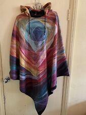 Rainbow Electric Swirl Poncho Oversized Wizard Pixie Hood Longer Length