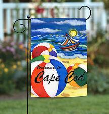 New Toland - Beach Balls Welcome to Cape Cod - Summer Sailing Garden Flag