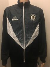 ADIDAS NBA BASKETBALL BROOKLYN NETS TEAM RESONATE FULL ZIP JACKET BLACK WHITE L