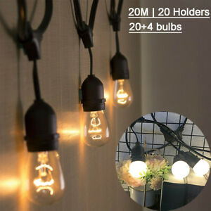 20M With S14/G45 LED Globe Festoon String Lights Party Outdoor Indoor Hanging UK
