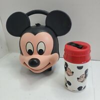 VINTAGE RARE DISNEY ALADDIN INDUSTRIES MICKEY MOUSE HEAD LUNCH BOX With Thermos