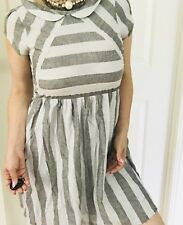 DEAR CREATURES WOMENS DRESS STRIPED COTTON CUP SLEEVE GREY WHITE SZ S