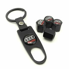 Black Valve Stem Caps For Audi Vehicles Includes Keychain New Free Shipping USA