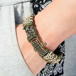 Retro Rhino Charms Paracord Wristband Vintage Outdoor Braided Bangles for Men
