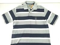 The Foundry Supply Mens Short Sleeve Rugby Polo Gray Blue Striped Size 2XLT NEW