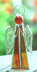 Lg AMBER ANGEL Tea Light CANDLE HOLDER or SUNCATCHER Free Standing Stained Glass