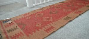 Kilim Rug Runner Jute Hallway Indian 60x270cm 2x9' Kelim Red Brown Morroco