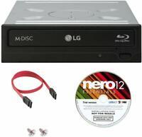 LG WH14NS40 14X Blu Ray DVD CD Burner+Nero Software+SATA Cable + Screws