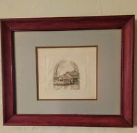 "Ltd Edition Embossed Country Etching .""Mill Pond"" by Rachel H Badeau Framed"