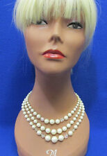Vtg 3 Strand Choker Necklace Ivory Color Faux Pearl Faceted Lucite Bead Jewelry