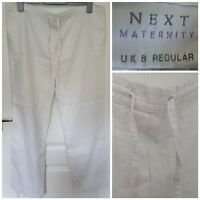 "Size 8 Maternity Trousers NEXT White Linen Casual Regular 29"" Leg Women's Ladies"