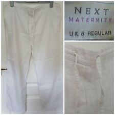 "Size 8 Maternity Trousers NEXT White Linen Casual Regular 29"" Leg Women's Ladies"