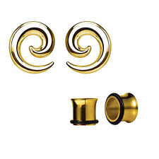 Pair of Seamless Steel Spiral Ear Tapers with Ear Plugs