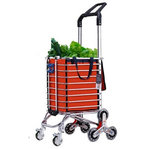 Dual-handle Shopping Grocery Cart Climbing Stairs Folding Portable Trolley