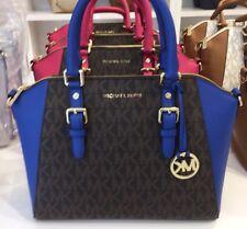 NWT,Michael Kors LARGE Ciara Top Zip Leather Satchel Handbag Brown Eletrnic Blue