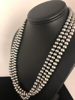 """Native American Sterling Silver Navajo Pearls 7 mm  Necklace 21"""" 3 Strand Gift"""