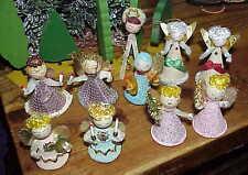 10 vintage Christmas Net spun Mercury glass Mica & Chenille Angels Japan np