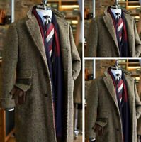 Men's Brown Herringbone Overcoat Formal Business Groom Wedding Long Jacket