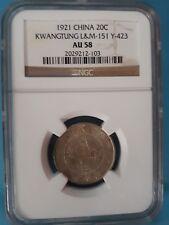 1921 China 20 Cents Kwangtung L&M NGC AU58