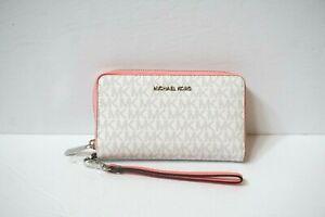 Michael Kors Jet Set Travel LG Phone Case Wristlet MK White Grapefruit Pink